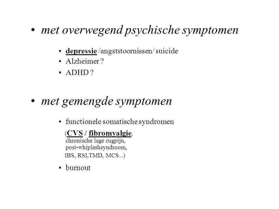met overwegend psychische symptomen depressie /angststoornissen/ suicide Alzheimer ? ADHD ? met gemengde symptomen functionele somatische syndromen (