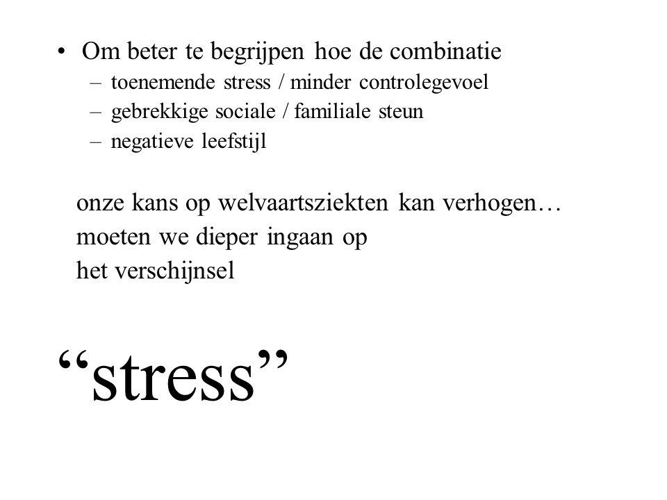 Om beter te begrijpen hoe de combinatie –toenemende stress / minder controlegevoel –gebrekkige sociale / familiale steun –negatieve leefstijl onze kan