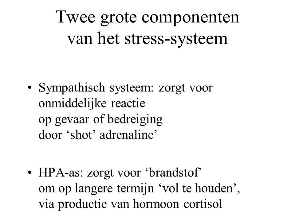 Twee grote componenten van het stress-systeem Sympathisch systeem: zorgt voor onmiddelijke reactie op gevaar of bedreiging door 'shot' adrenaline' HPA