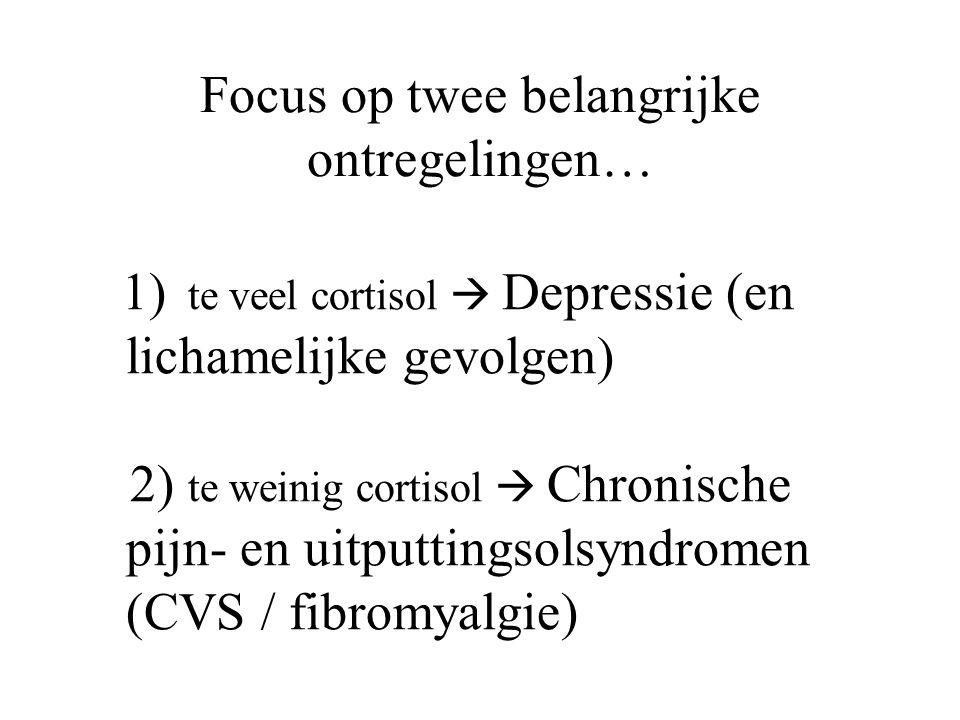 Focus op twee belangrijke ontregelingen… 1) te veel cortisol  Depressie (en lichamelijke gevolgen) 2) te weinig cortisol  Chronische pijn- en uitput