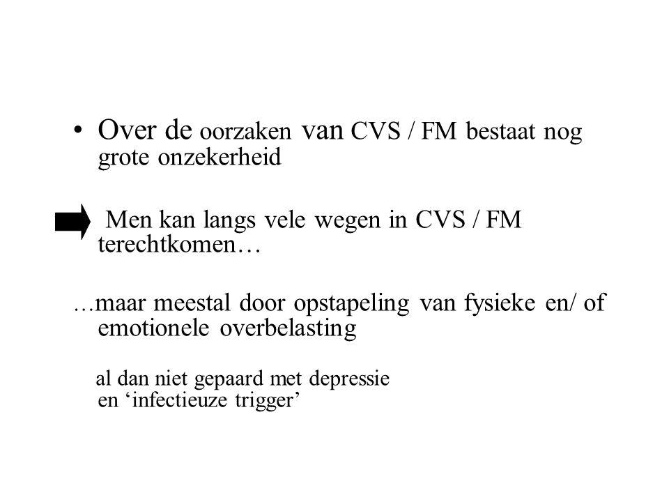 Over de oorzaken van CVS / FM bestaat nog grote onzekerheid Men kan langs vele wegen in CVS / FM terechtkomen… … maar meestal door opstapeling van fys