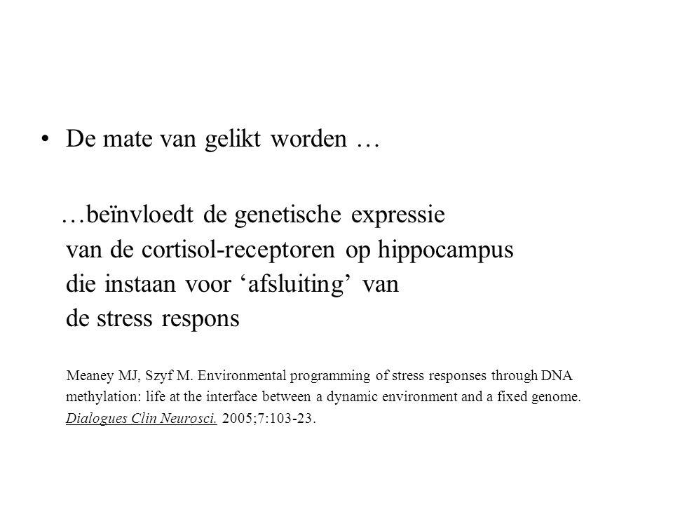 De mate van gelikt worden … …beïnvloedt de genetische expressie van de cortisol-receptoren op hippocampus die instaan voor 'afsluiting' van de stress