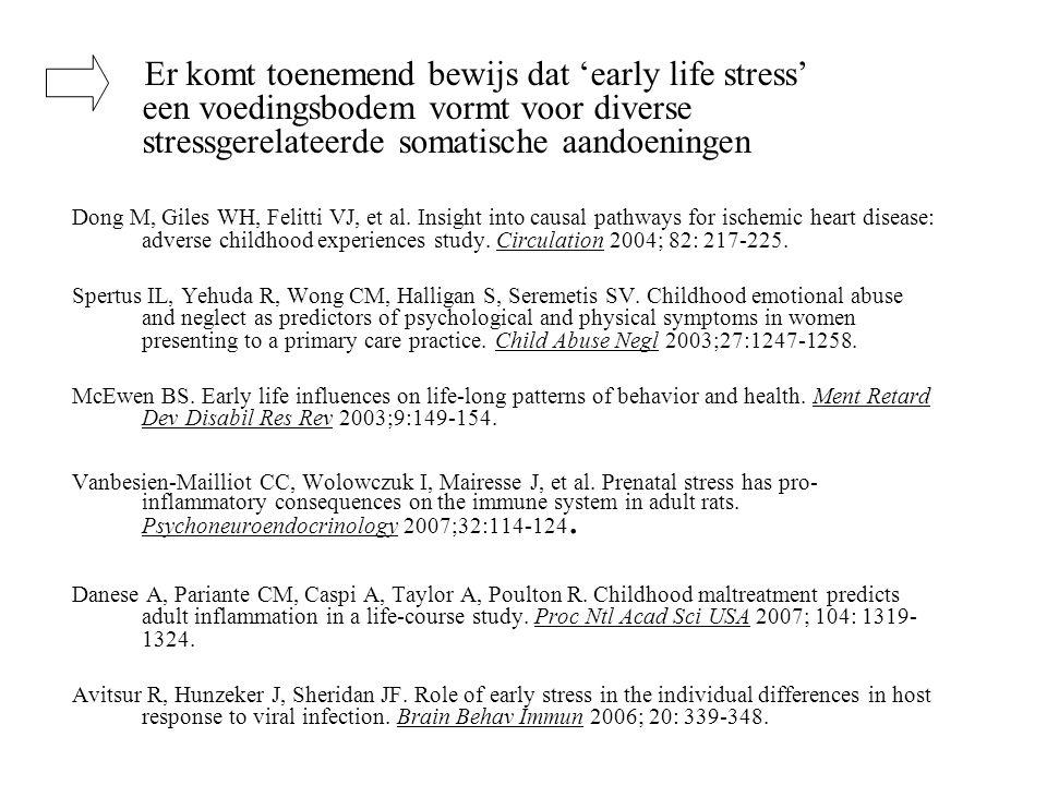Er komt toenemend bewijs dat 'early life stress' een voedingsbodem vormt voor diverse stressgerelateerde somatische aandoeningen Dong M, Giles WH, Fel