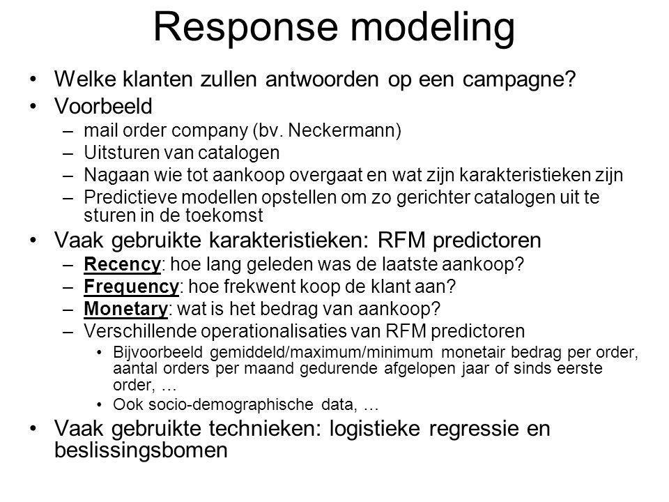 Response modeling Welke klanten zullen antwoorden op een campagne.
