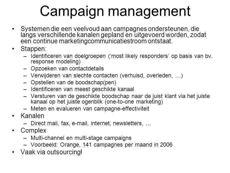 Campaign management Systemen die een veelvoud aan campagnes ondersteunen, die langs verschillende kanalen gepland en uitgevoerd worden, zodat een continue marketingcommunicatiestroom ontstaat.