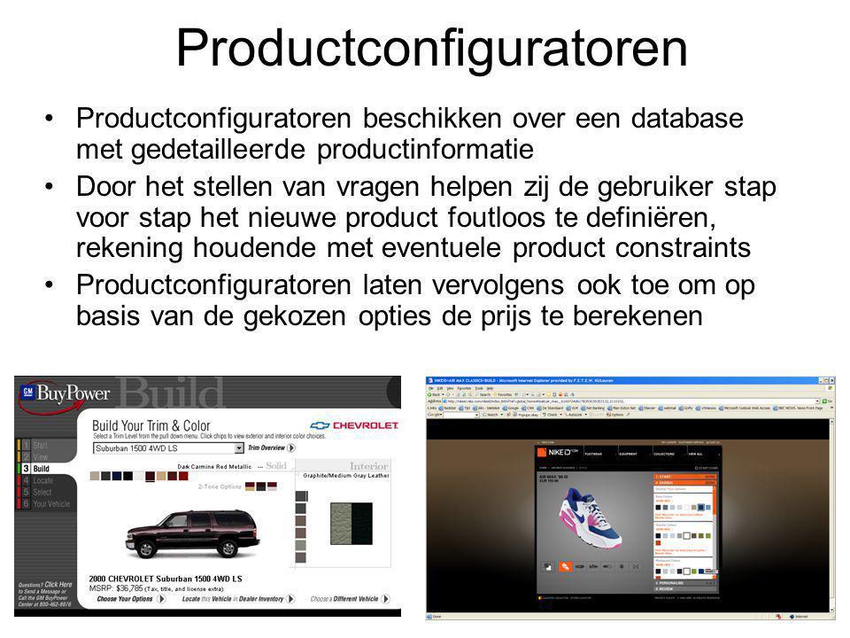 Productconfiguratoren beschikken over een database met gedetailleerde productinformatie Door het stellen van vragen helpen zij de gebruiker stap voor stap het nieuwe product foutloos te definiëren, rekening houdende met eventuele product constraints Productconfiguratoren laten vervolgens ook toe om op basis van de gekozen opties de prijs te berekenen