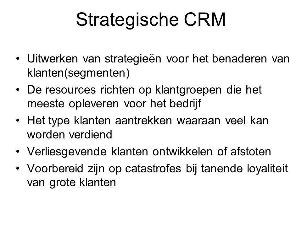 Strategische CRM Uitwerken van strategieën voor het benaderen van klanten(segmenten) De resources richten op klantgroepen die het meeste opleveren voor het bedrijf Het type klanten aantrekken waaraan veel kan worden verdiend Verliesgevende klanten ontwikkelen of afstoten Voorbereid zijn op catastrofes bij tanende loyaliteit van grote klanten