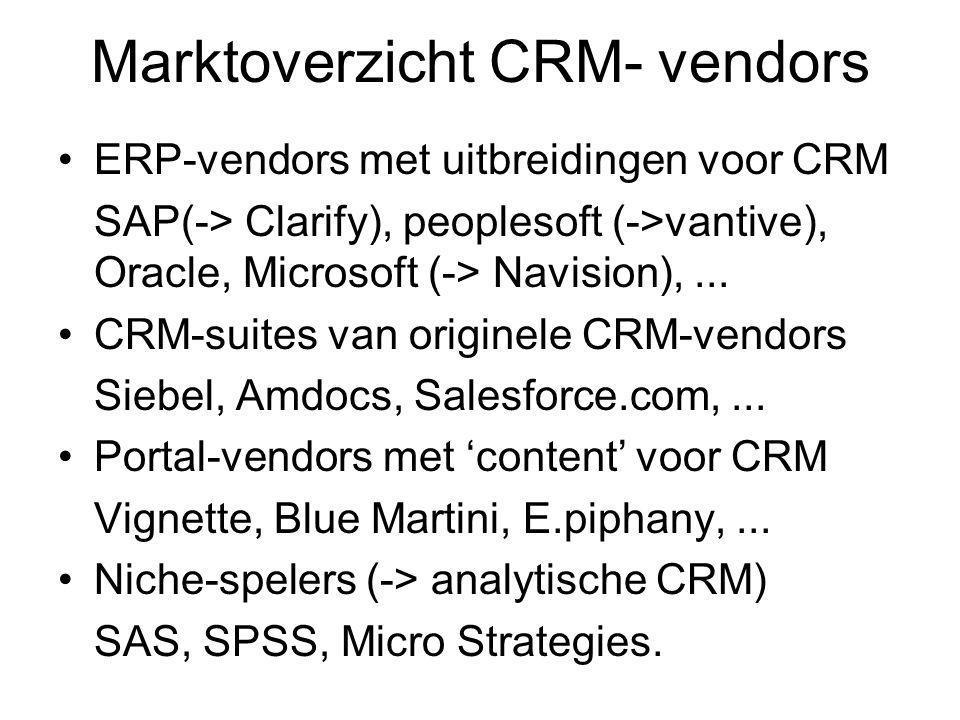 Marktoverzicht CRM- vendors ERP-vendors met uitbreidingen voor CRM SAP(-> Clarify), peoplesoft (->vantive), Oracle, Microsoft (-> Navision),...