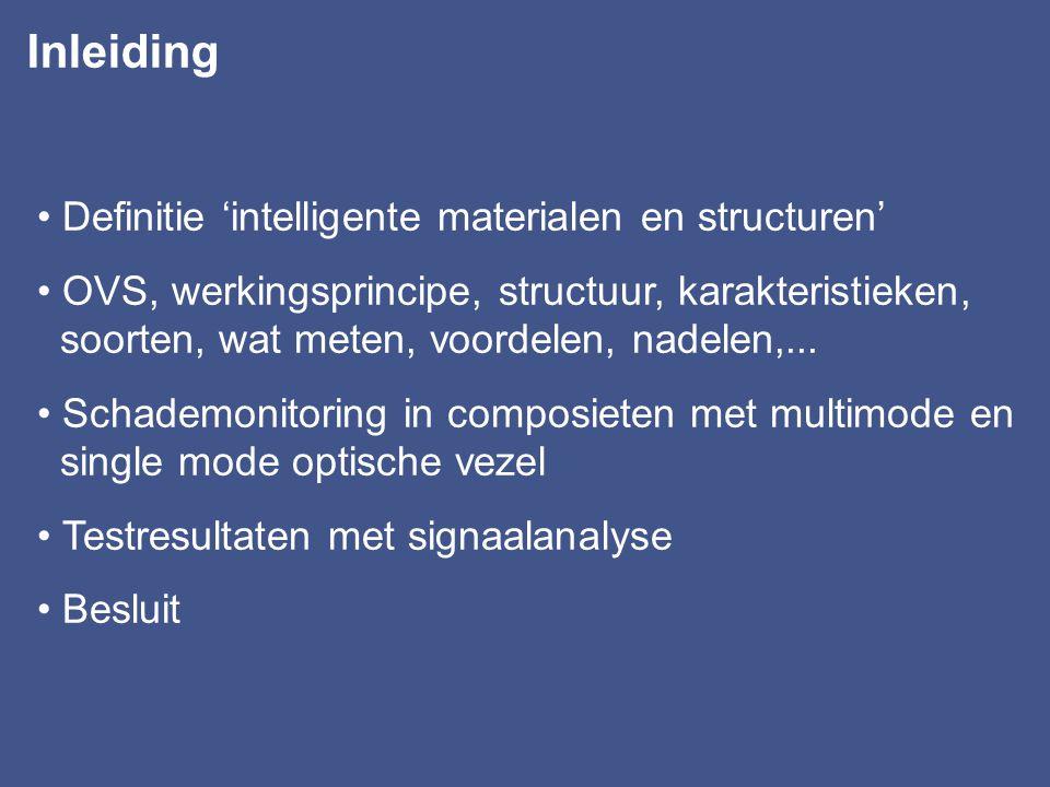 DEEL 2 Intelligente materialen (smart materials) meer bepaald, composieten met ingebedde optische vezels voor schademonitoring Dept.