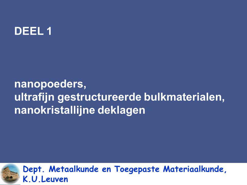 DEEL 1:nanopoeders, ultrafijn gestructureerde bulkmaterialen, nanokristallijne deklagen DEEL 2: intelligente materialen (smart materials) meer bepaald, composieten met ingebedde optische vezels voor schademonitoring Dept.