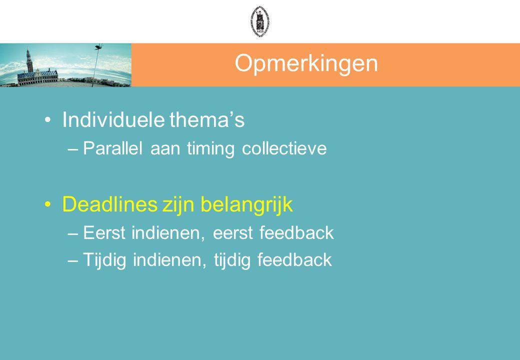 Opmerkingen Individuele thema's –Parallel aan timing collectieve Deadlines zijn belangrijk –Eerst indienen, eerst feedback –Tijdig indienen, tijdig feedback