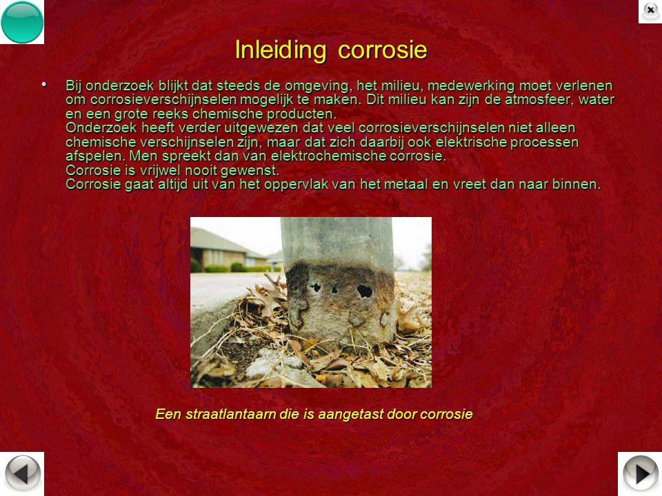 Inleiding corrosie Bij onderzoek blijkt dat steeds de omgeving, het milieu, medewerking moet verlenen om corrosieverschijnselen mogelijk te maken. Dit