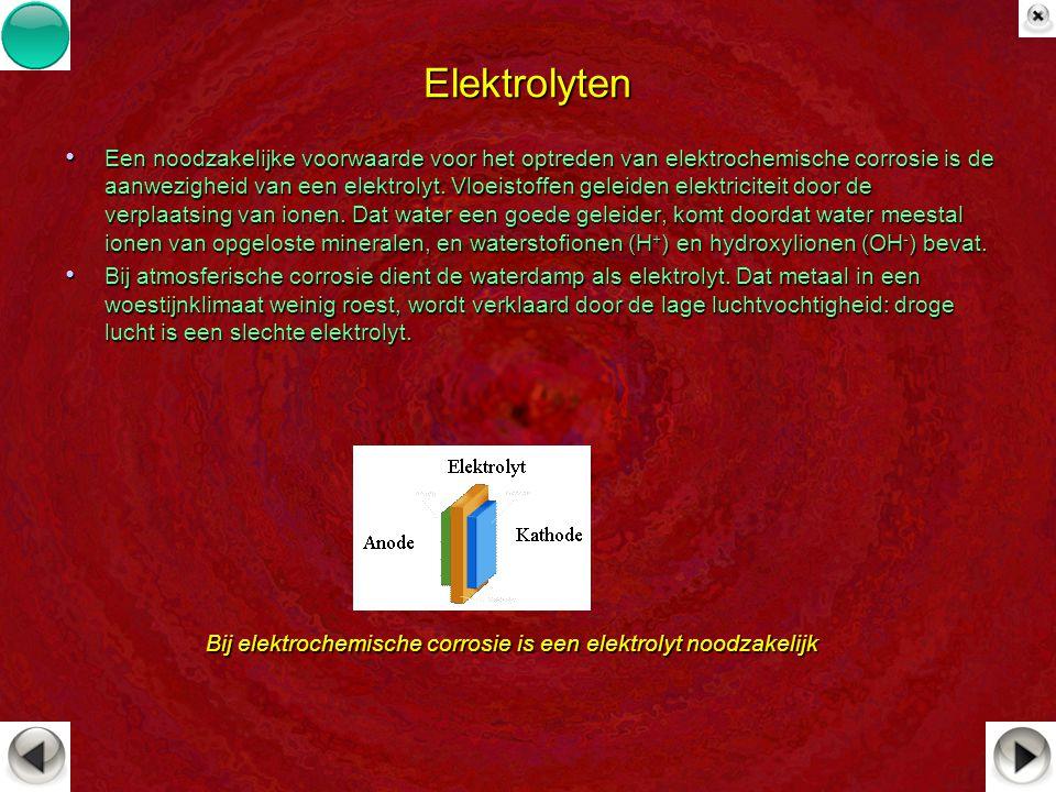 Elektrolyten Een noodzakelijke voorwaarde voor het optreden van elektrochemische corrosie is de aanwezigheid van een elektrolyt. Vloeistoffen geleiden