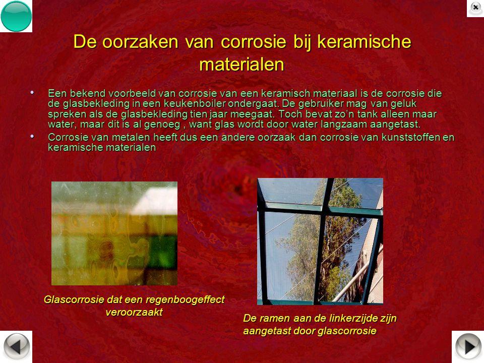 De oorzaken van corrosie bij keramische materialen Een bekend voorbeeld van corrosie van een keramisch materiaal is de corrosie die de glasbekleding i