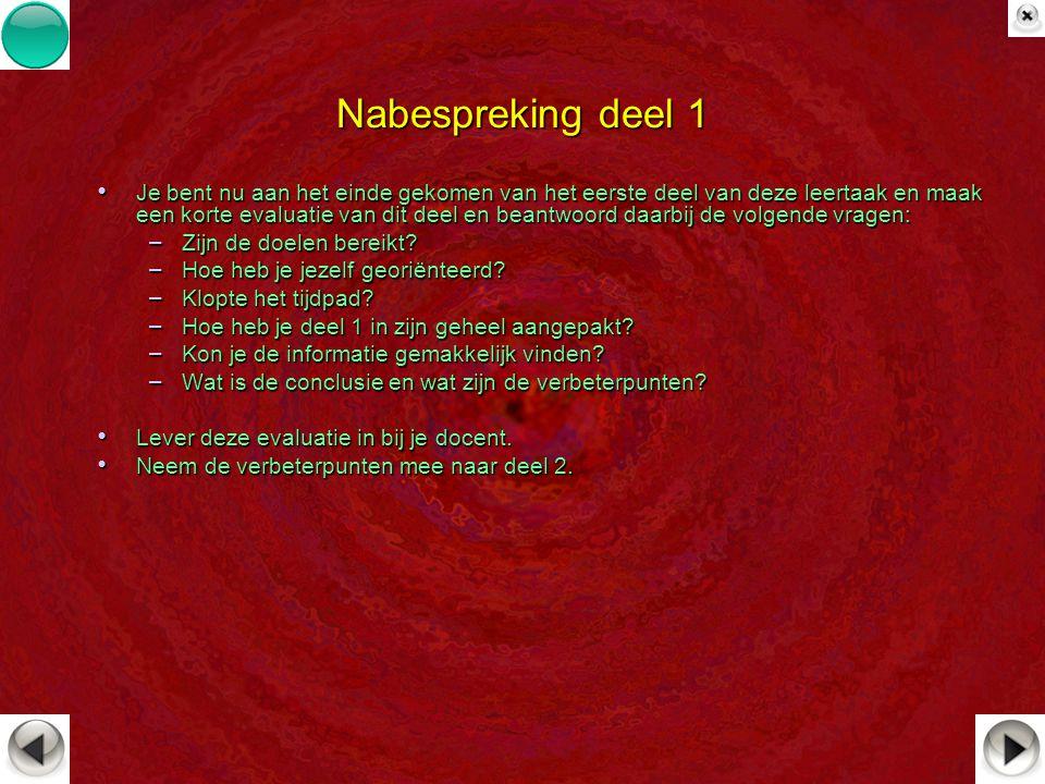 Nabespreking deel 1 Je bent nu aan het einde gekomen van het eerste deel van deze leertaak en maak een korte evaluatie van dit deel en beantwoord daar
