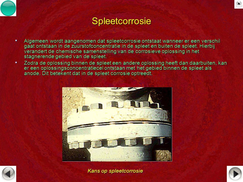 Spleetcorrosie Algemeen wordt aangenomen dat spleetcorrosie ontstaat wanneer er een verschil gaat ontstaan in de zuurstofconcentratie in de spleet en
