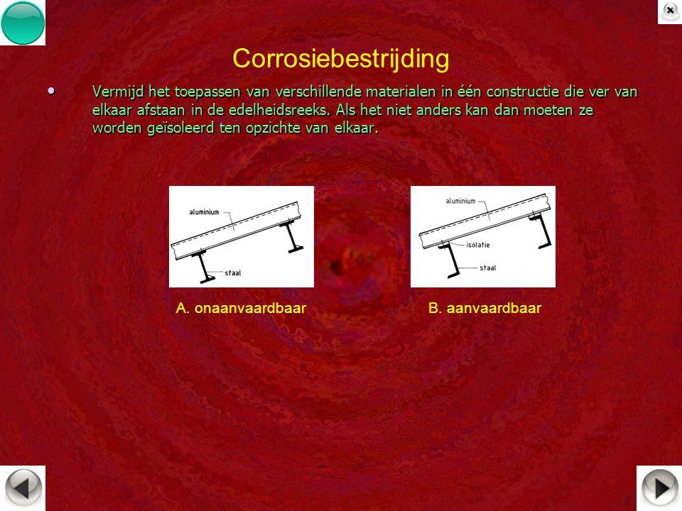 Corrosiebestrijding Vermijd het toepassen van verschillende materialen in één constructie die ver van elkaar afstaan in de edelheidsreeks. Als het nie