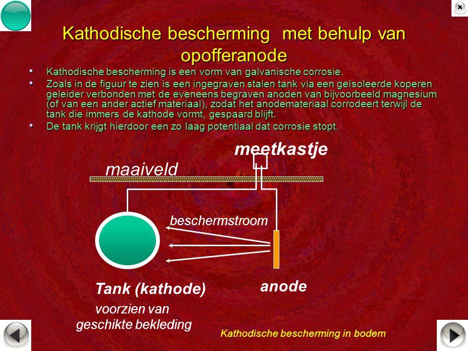 Kathodische bescherming met behulp van opofferanode Kathodische bescherming is een vorm van galvanische corrosie. Kathodische bescherming is een vorm