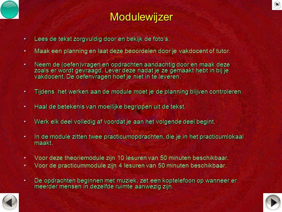 Modulewijzer Lees de tekst zorgvuldig door en bekijk de foto's.Lees de tekst zorgvuldig door en bekijk de foto's. Maak een planning en laat deze beoor