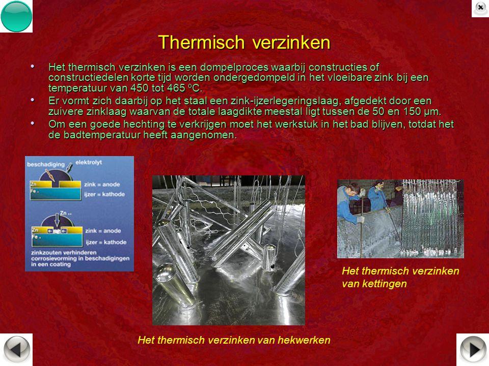 Thermisch verzinken Het thermisch verzinken is een dompelproces waarbij constructies of constructiedelen korte tijd worden ondergedompeld in het vloei