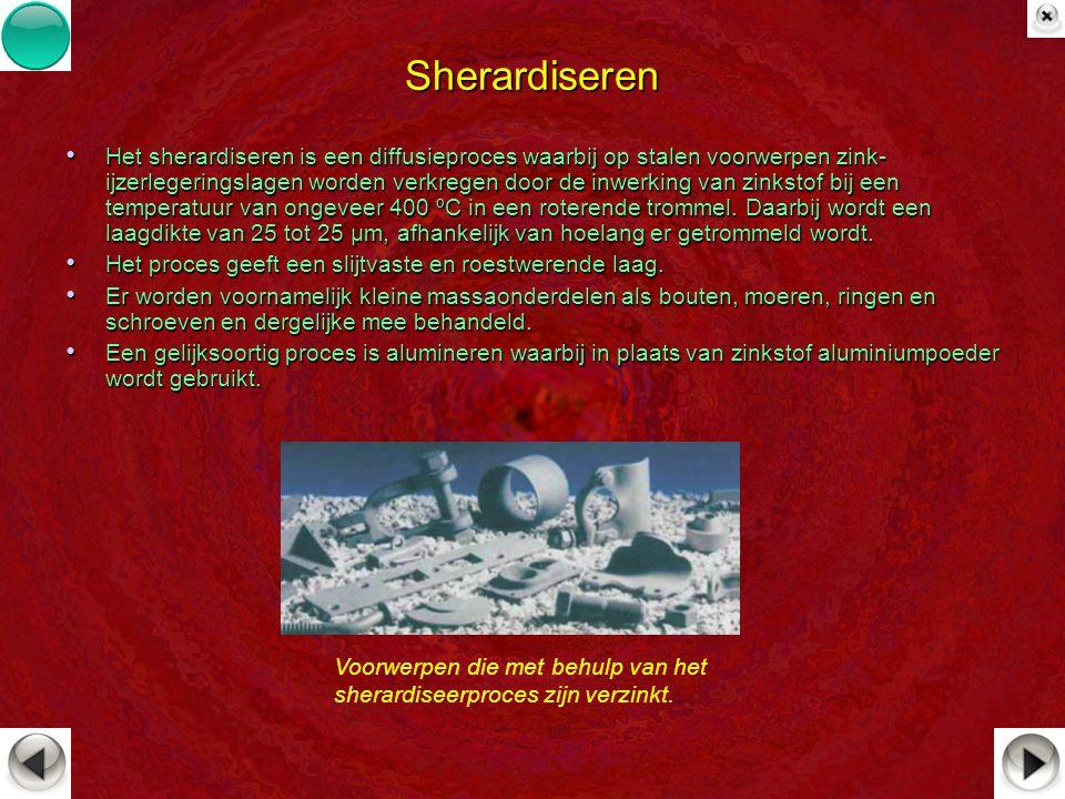Sherardiseren Het sherardiseren is een diffusieproces waarbij op stalen voorwerpen zink- ijzerlegeringslagen worden verkregen door de inwerking van zi