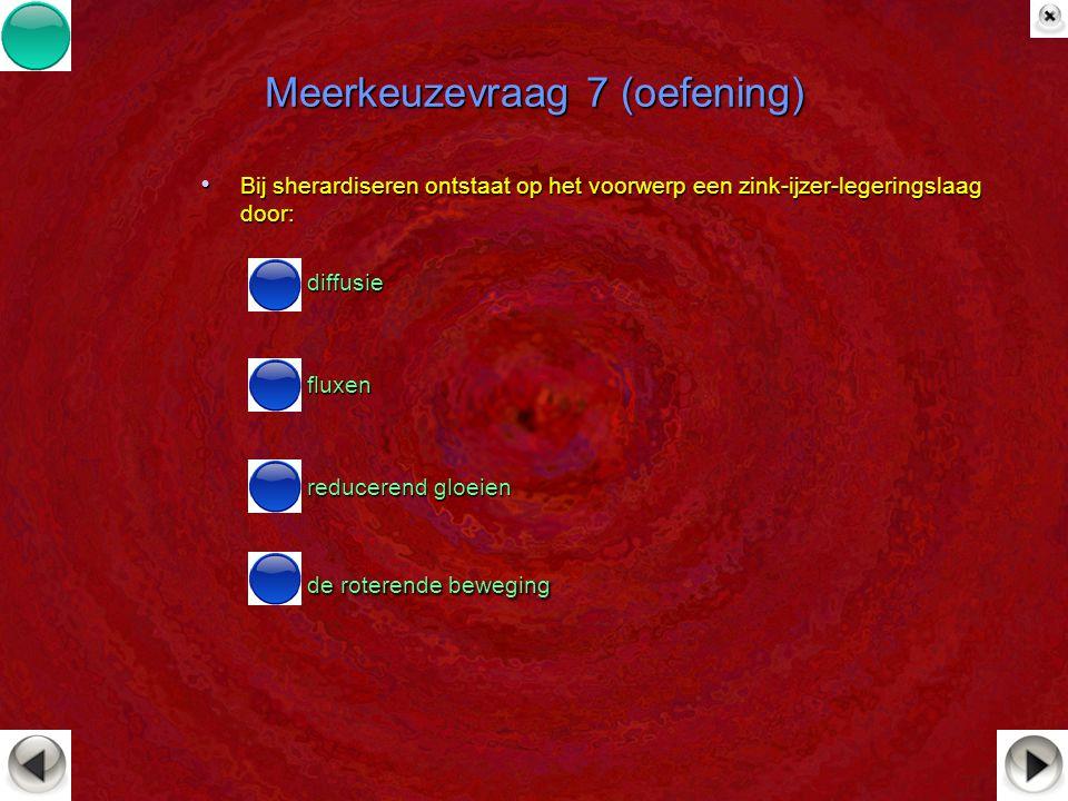 Meerkeuzevraag 7 (oefening) Bij sherardiseren ontstaat op het voorwerp een zink-ijzer-legeringslaag door: Bij sherardiseren ontstaat op het voorwerp e