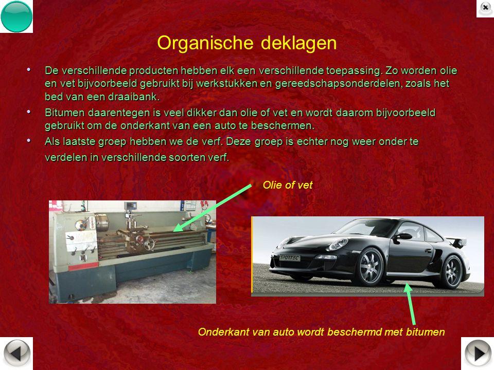 Organische deklagen De verschillende producten hebben elk een verschillende toepassing. Zo worden olie en vet bijvoorbeeld gebruikt bij werkstukken en