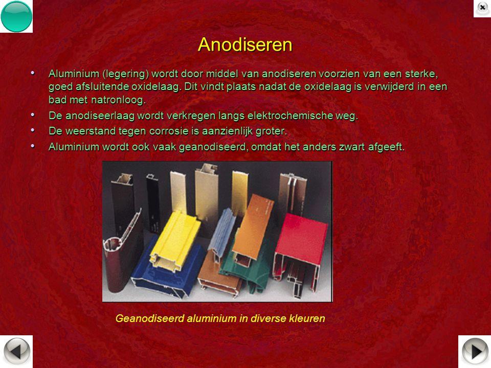 Anodiseren Aluminium (legering) wordt door middel van anodiseren voorzien van een sterke, goed afsluitende oxidelaag. Dit vindt plaats nadat de oxidel