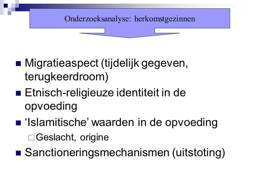 Onderzoeksanalyse: herkomstgezinnen Migratieaspect (tijdelijk gegeven, terugkeerdroom) Etnisch-religieuze identiteit in de opvoeding 'Islamitische' wa