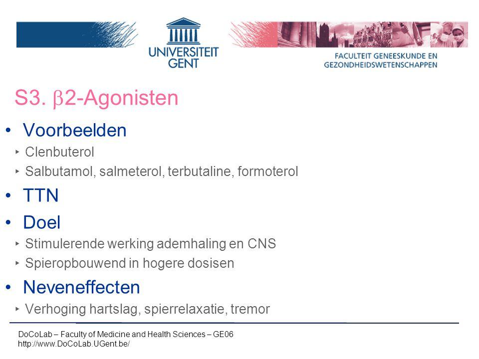 S3.  2-Agonisten DoCoLab – Faculty of Medicine and Health Sciences – GE06 http://www.DoCoLab.UGent.be/ Voorbeelden ‣ Clenbuterol ‣ Salbutamol, salmet