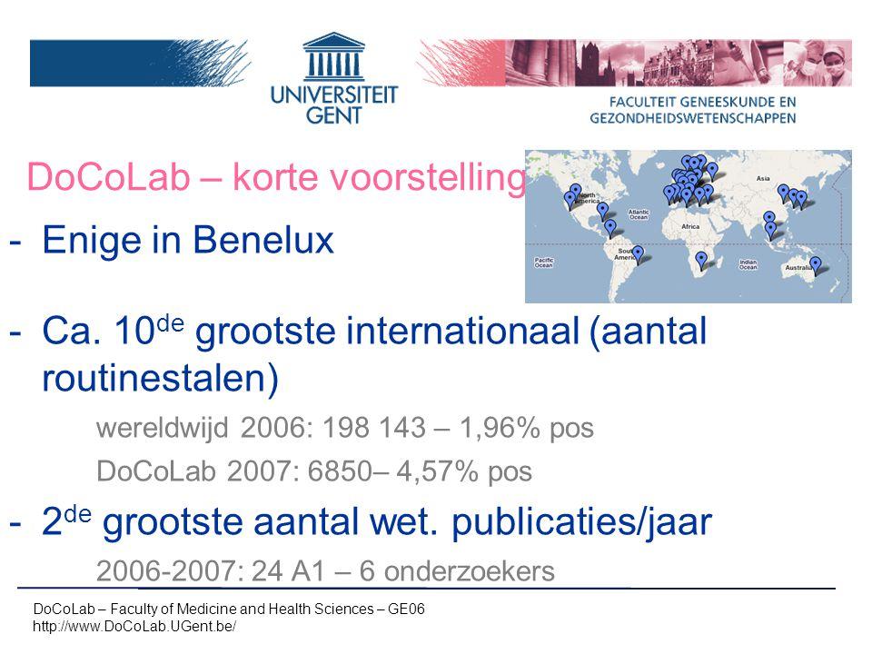 DoCoLab – korte voorstelling -Enige in Benelux -Ca. 10 de grootste internationaal (aantal routinestalen) wereldwijd 2006: 198 143 – 1,96% pos DoCoLab