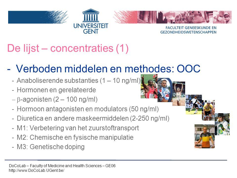 De lijst – concentraties (1) -Verboden middelen en methodes: OOC -Anaboliserende substanties (1 – 10 ng/ml) -Hormonen en gerelateerde  -agonisten (2 – 100 ng/ml) -Hormoon antagonisten en modulators (50 ng/ml) -Diuretica en andere maskeermiddelen (2-250 ng/ml) -M1: Verbetering van het zuurstoftransport -M2: Chemische en fysische manipulatie -M3: Genetische doping DoCoLab – Faculty of Medicine and Health Sciences – GE06 http://www.DoCoLab.UGent.be/