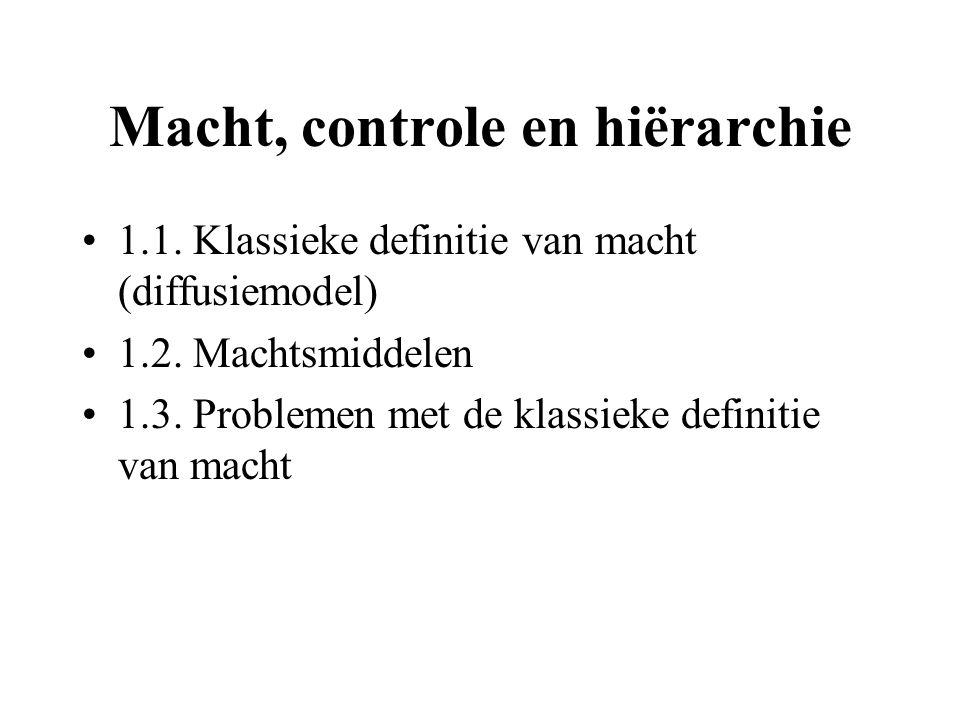Macht, controle en hiërarchie 1.1. Klassieke definitie van macht (diffusiemodel) 1.2. Machtsmiddelen 1.3. Problemen met de klassieke definitie van mac