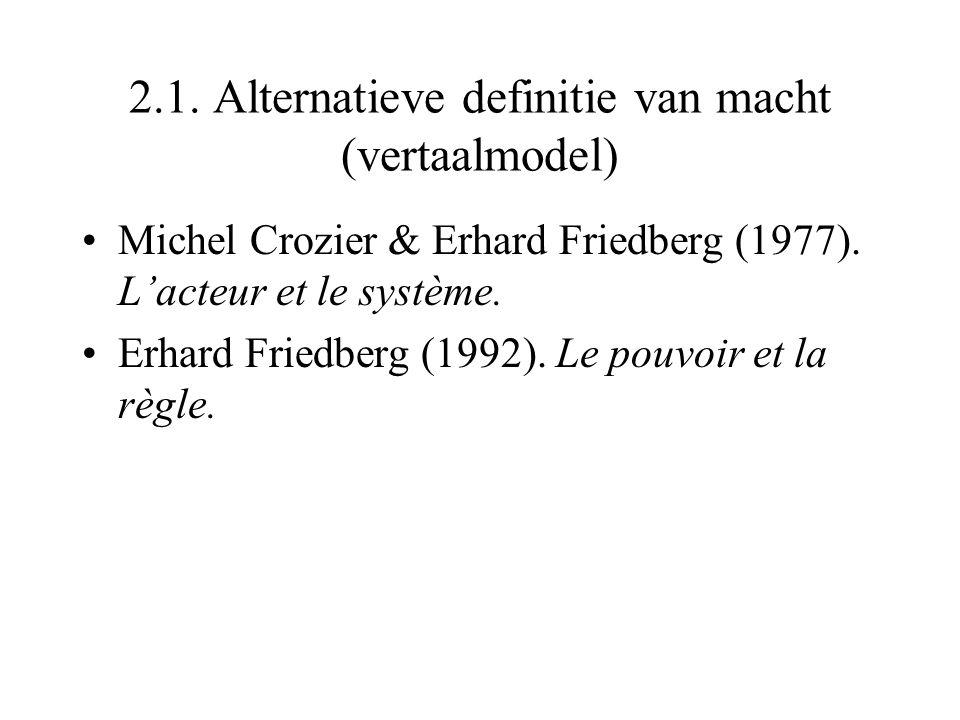 2.1. Alternatieve definitie van macht (vertaalmodel) Michel Crozier & Erhard Friedberg (1977). L'acteur et le système. Erhard Friedberg (1992). Le pou