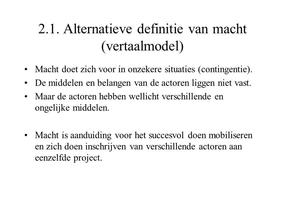 2.1. Alternatieve definitie van macht (vertaalmodel) Macht doet zich voor in onzekere situaties (contingentie). De middelen en belangen van de actoren