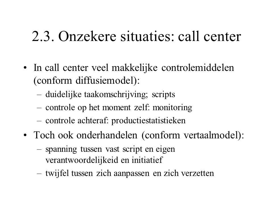 2.3. Onzekere situaties: call center In call center veel makkelijke controlemiddelen (conform diffusiemodel): –duidelijke taakomschrijving; scripts –c