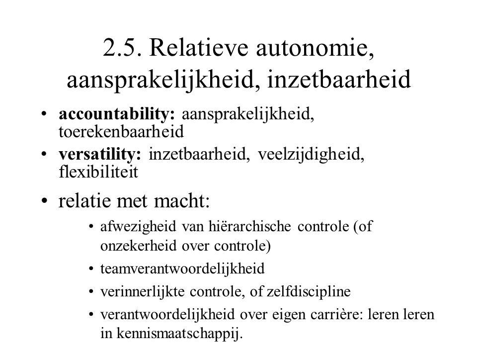 2.5. Relatieve autonomie, aansprakelijkheid, inzetbaarheid accountability: aansprakelijkheid, toerekenbaarheid versatility: inzetbaarheid, veelzijdigh