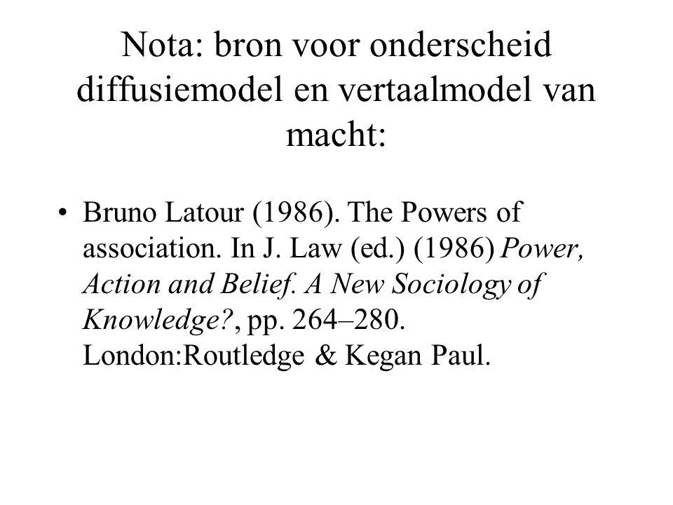 Nota: bron voor onderscheid diffusiemodel en vertaalmodel van macht: Bruno Latour (1986). The Powers of association. In J. Law (ed.) (1986) Power, Act