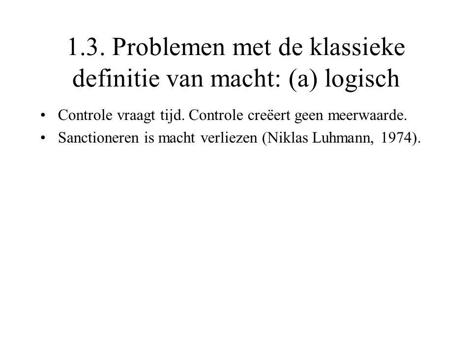 1.3. Problemen met de klassieke definitie van macht: (a) logisch Controle vraagt tijd. Controle creëert geen meerwaarde. Sanctioneren is macht verliez