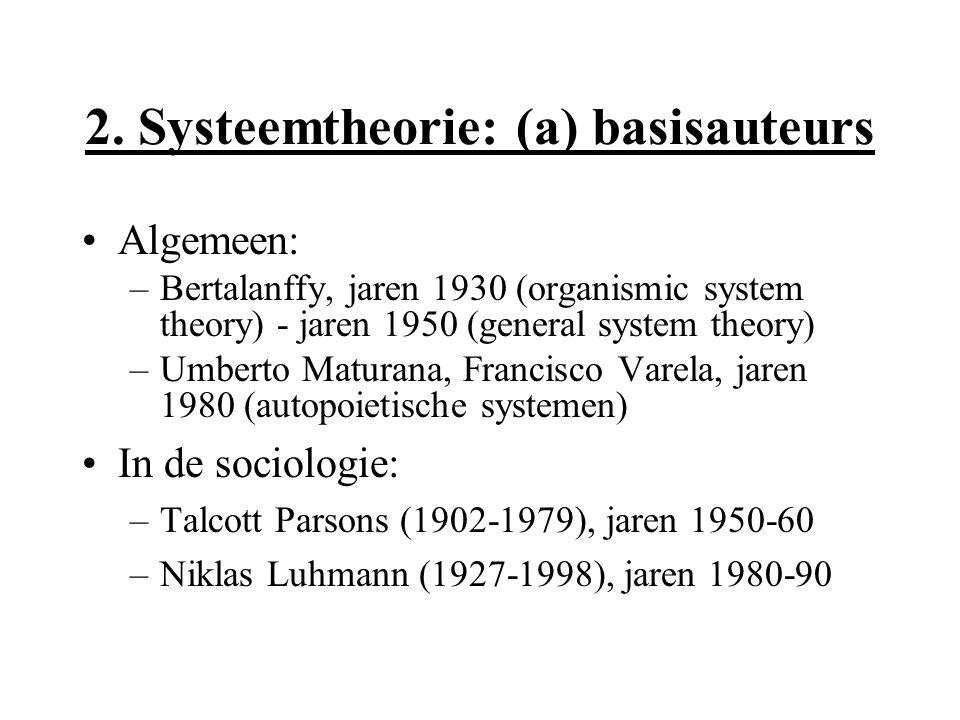 2. Systeemtheorie: (a) basisauteurs Algemeen: –Bertalanffy, jaren 1930 (organismic system theory) - jaren 1950 (general system theory) –Umberto Matura
