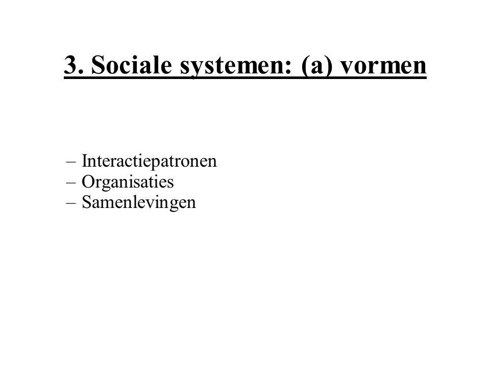 3. Sociale systemen: (a) vormen –Interactiepatronen –Organisaties –Samenlevingen