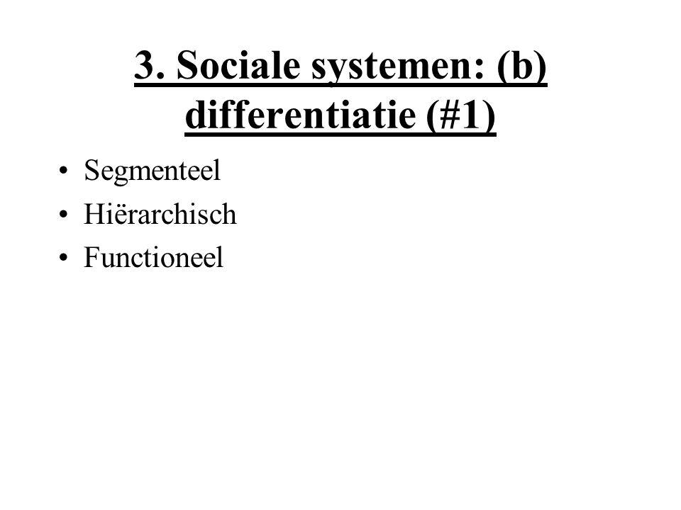 3. Sociale systemen: (b) differentiatie (#1) Segmenteel Hiërarchisch Functioneel