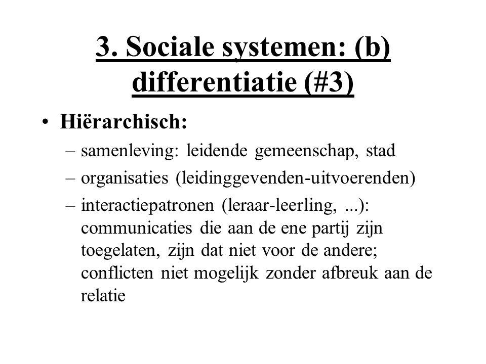 3. Sociale systemen: (b) differentiatie (#3) Hiërarchisch: –samenleving: leidende gemeenschap, stad –organisaties (leidinggevenden-uitvoerenden) –inte