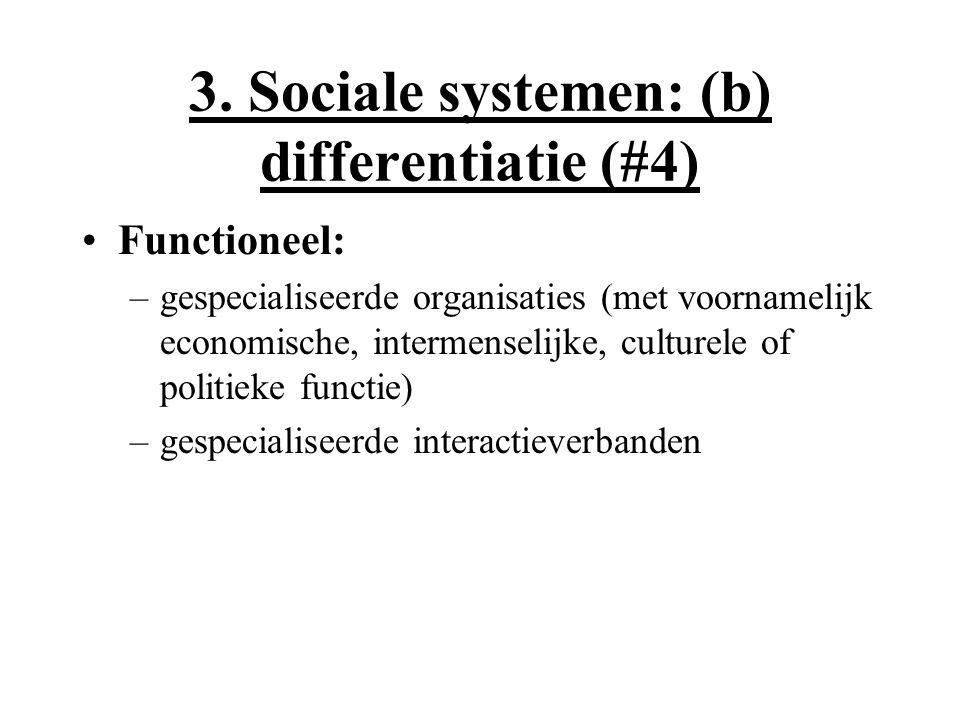 3. Sociale systemen: (b) differentiatie (#4) Functioneel: –gespecialiseerde organisaties (met voornamelijk economische, intermenselijke, culturele of