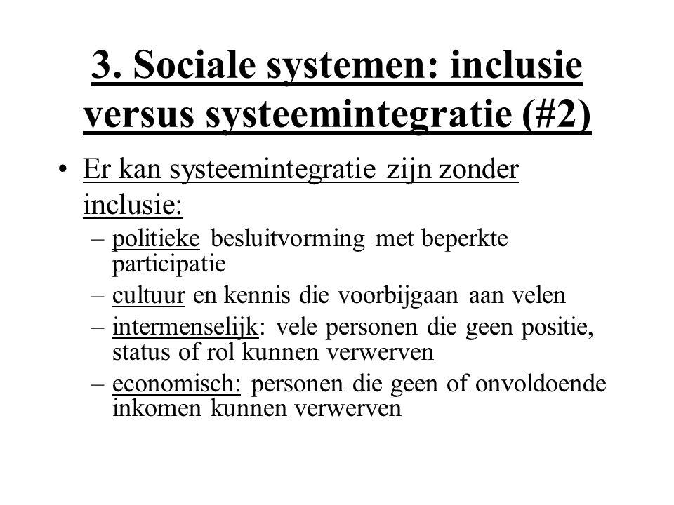 3. Sociale systemen: inclusie versus systeemintegratie (#2) Er kan systeemintegratie zijn zonder inclusie: –politieke besluitvorming met beperkte part