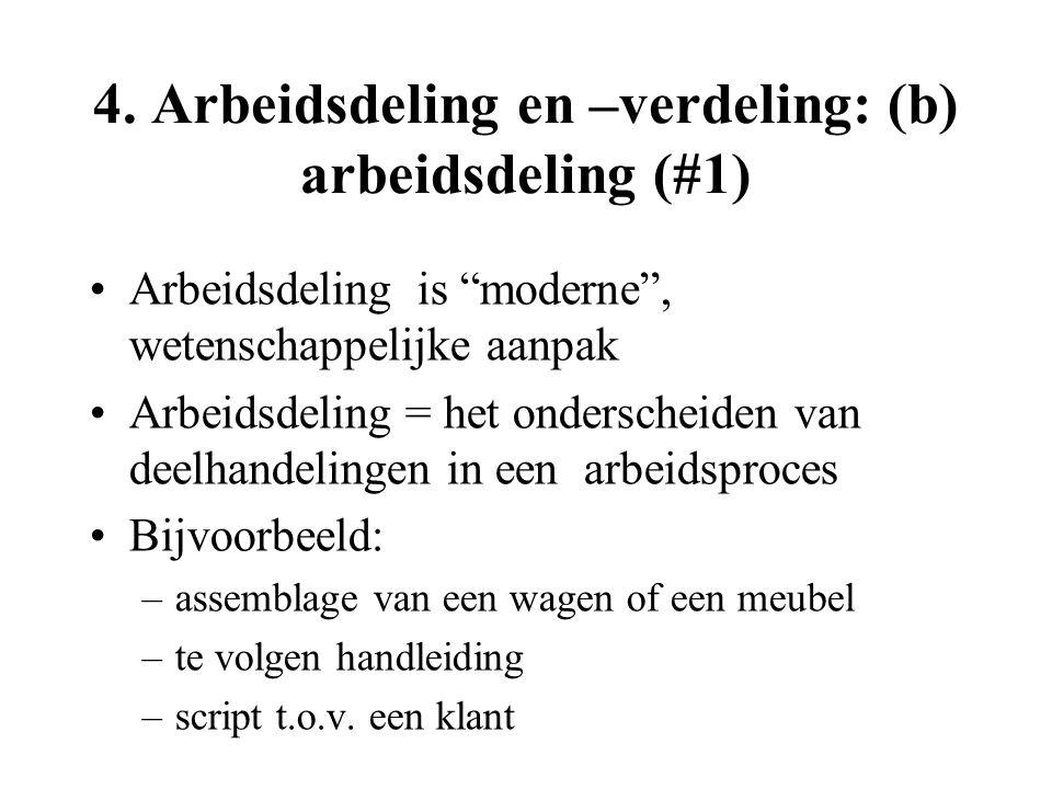 """4. Arbeidsdeling en –verdeling: (b) arbeidsdeling (#1) Arbeidsdeling is """"moderne"""", wetenschappelijke aanpak Arbeidsdeling = het onderscheiden van deel"""