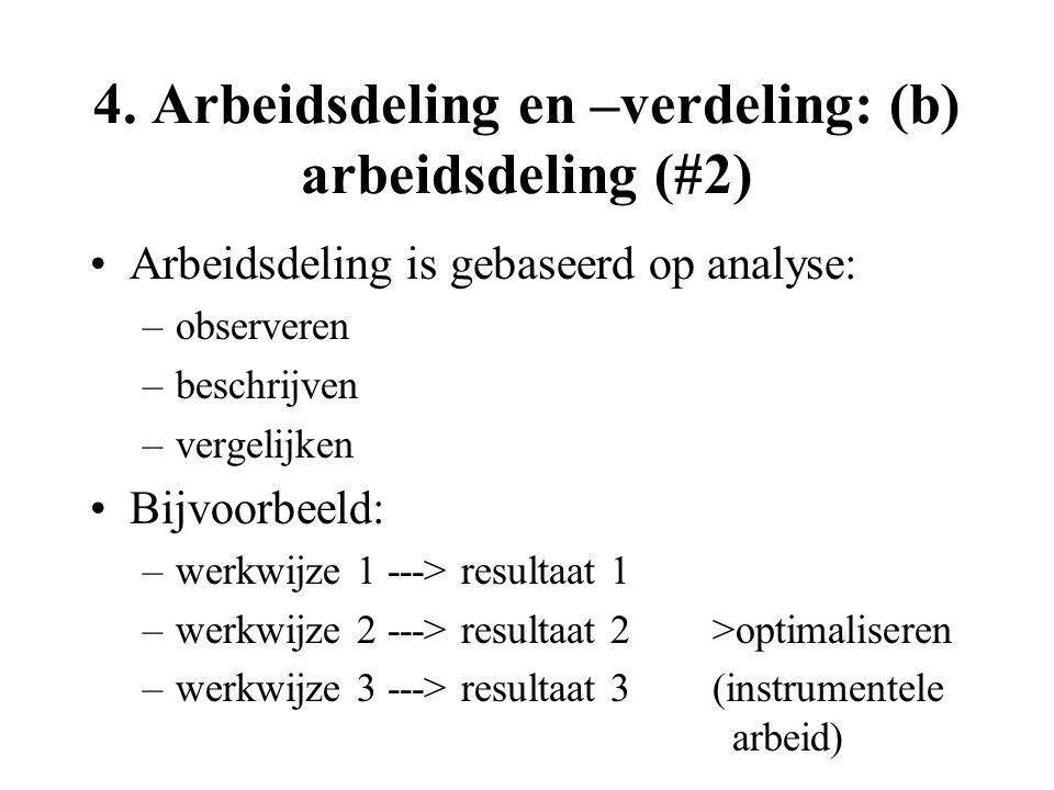 4. Arbeidsdeling en –verdeling: (b) arbeidsdeling (#2) Arbeidsdeling is gebaseerd op analyse: –observeren –beschrijven –vergelijken Bijvoorbeeld: –wer