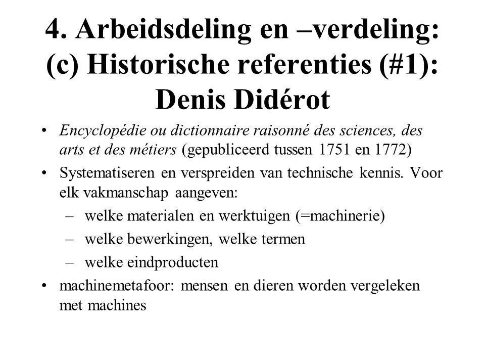 4. Arbeidsdeling en –verdeling: (c) Historische referenties (#1): Denis Didérot Encyclopédie ou dictionnaire raisonné des sciences, des arts et des mé