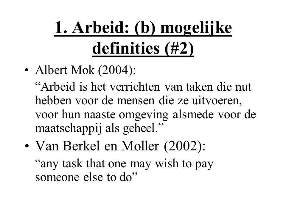 """1. Arbeid: (b) mogelijke definities (#2) Albert Mok (2004): """"Arbeid is het verrichten van taken die nut hebben voor de mensen die ze uitvoeren, voor h"""