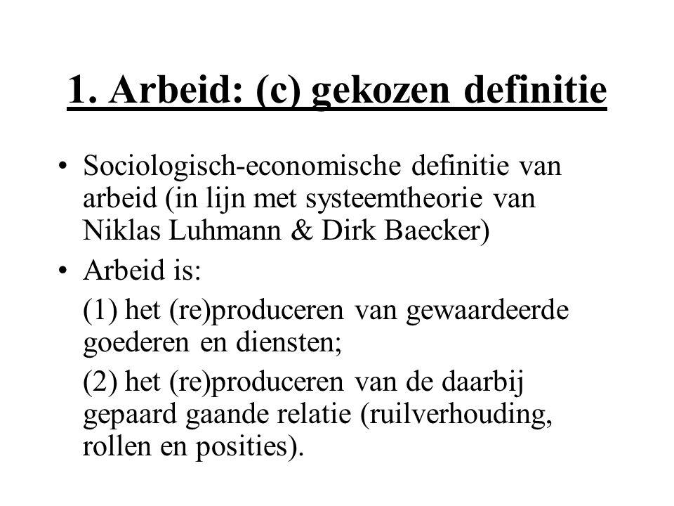 1. Arbeid: (c) gekozen definitie Sociologisch-economische definitie van arbeid (in lijn met systeemtheorie van Niklas Luhmann & Dirk Baecker) Arbeid i